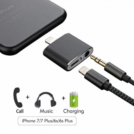4 in 1 iPhone Cable Adapter - AUX Audio + Lightning Charging
